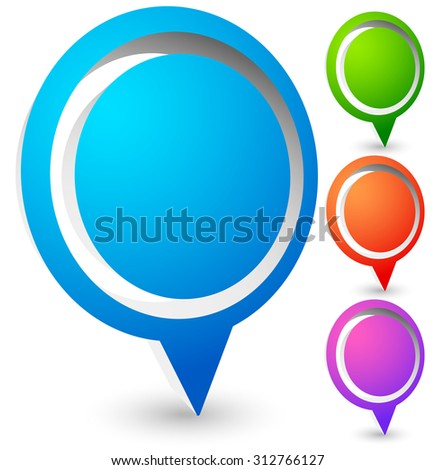 Bright, colorful map marker, map pin vector in 4 colors. - stock vector