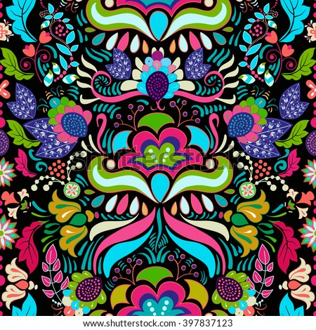 Bright colorful seamless pattern. Colorful flowers wallpaper - stock vector
