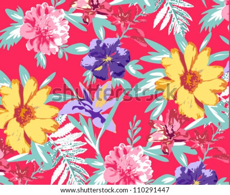 bright colors for floral pattern,tropical,summer vocation - stock vector