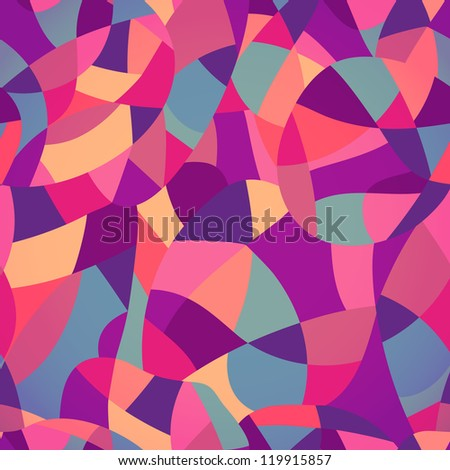 Bright colors mosaic seamless pattern, vector illustration looks like patchwork or stained-glass window.Abstract pattern with geometric motifs. - stock vector