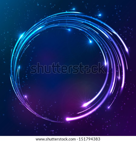 Bright colors shining neon lights vector circle background - stock vector