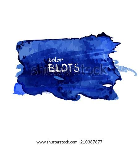 Bright dark blue watercolor blot. Vector illustration - stock vector