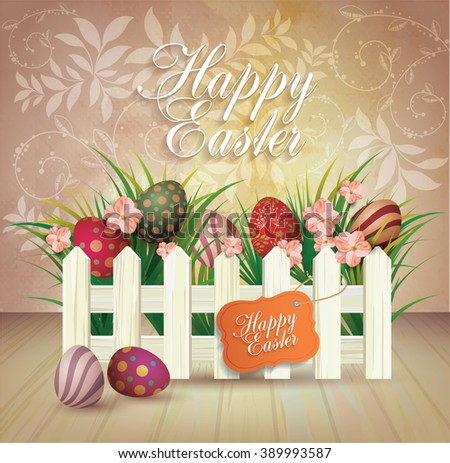 Bright Easter Card. Template card with Easter eggs and  grass  - stock vector