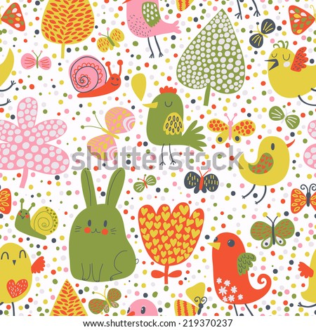 Bright Easter seamless pattern. Cute rabbits, chicken, snails, butterflies in flowers - stock vector