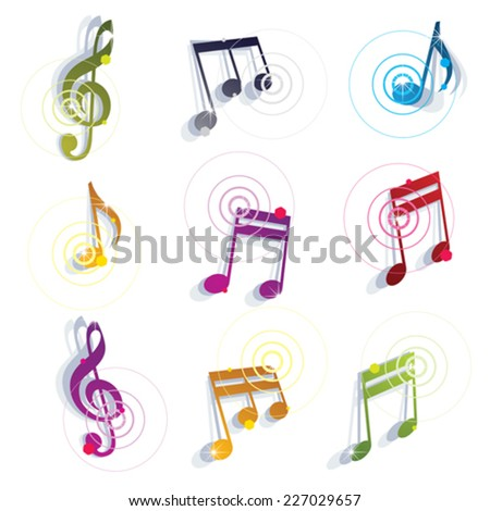 Bright expressive jolly glossy musical notes and symbols isolated on white background, vector glamorous musical elements. - stock vector