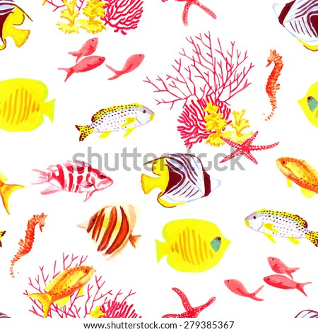 Bright fishes and algae watercolor seamless vector pattern - stock vector