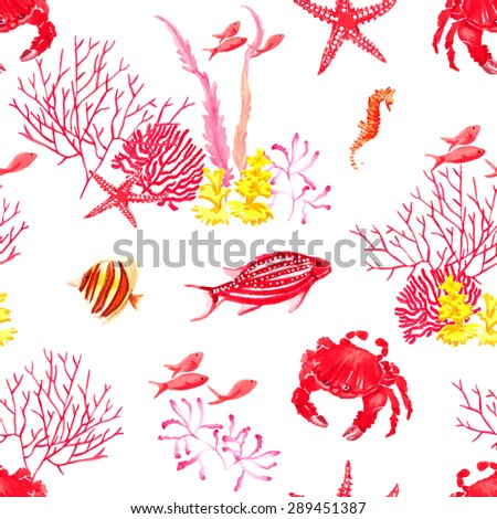 Bright fishes,crab and corals watercolor seamless vector pattern - stock vector