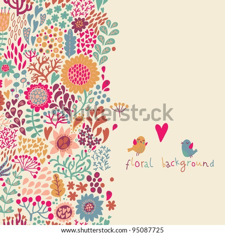 Bright floral background - stock vector