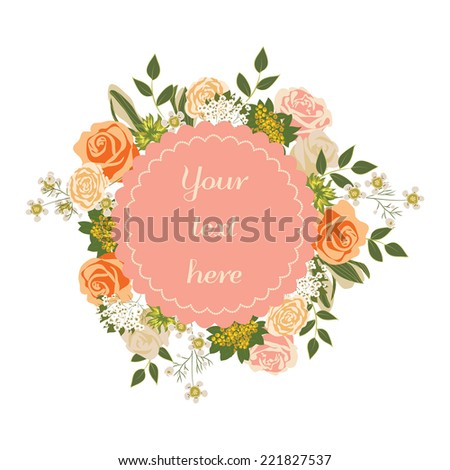 Bright floral card with cute cartoon flowers in vector. Inspirational and motivational quotes background - stock vector