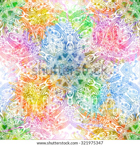 Bright floral seamless pattern. Vector illustration, EPS 10 - stock vector