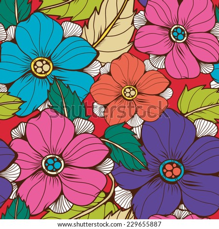Bright Floral seamless vintage Pattern of beautiful flowers in vector.  - stock vector