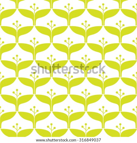 Bright flower ornament. Cute green objects on white background. Floral collection. Seamless pattern. - stock vector