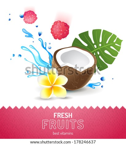 Bright fruit background with coconut, raspberries and frangipani flower - stock vector