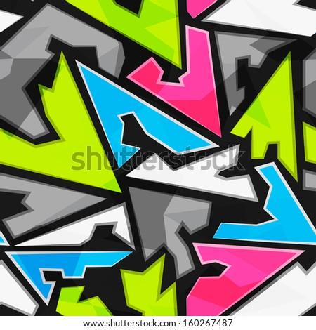 bright geometric triangle seamless pattern - stock vector