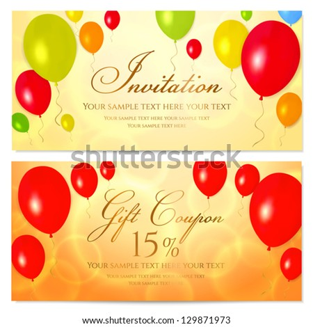 Bright Gift coupon (voucher, invitation or card) template with colorful balloons background. Vector layout in golden (yellow), red and orange colors - stock vector