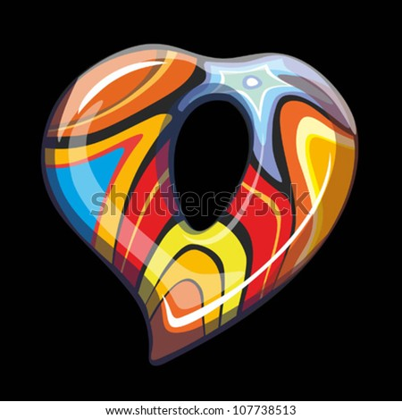 Bright glass vector heart - stock vector
