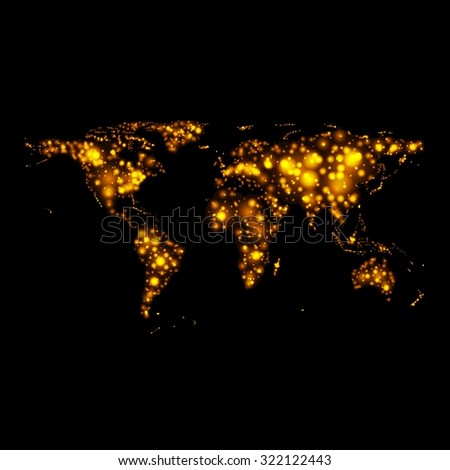 Bright glowing abstract map on night. Vector background - stock vector