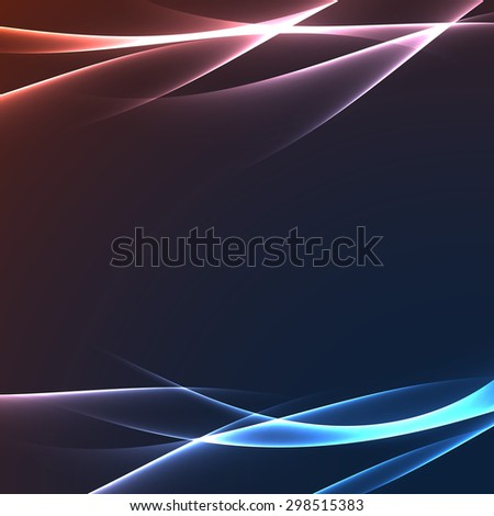 Bright glowing speed swoosh lines abstract layout. Vector illustration - stock vector