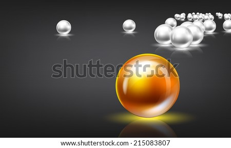 Bright glowing spheres in a random display. Leadership or Be different concept 3D illustration. Space for your text. - stock vector