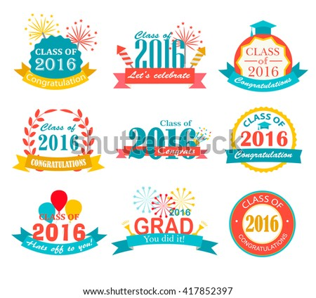 Bright graduation 2016 badges, signs and symbols with graduation hat, fireworks, crackers, balloons and text, vector illustration. Congratulation to graduates of 2016 year - stock vector
