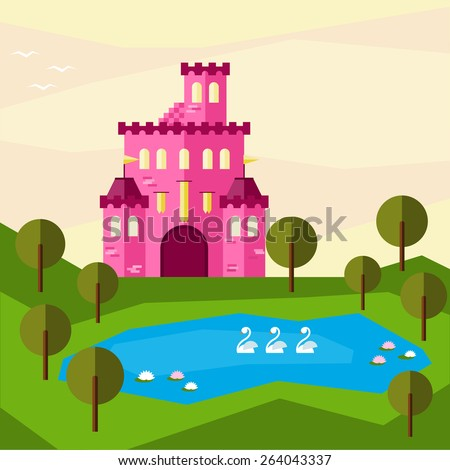 Bright graphic illustration with cartoon glaring pink colored castle for use in design for card, invitation, banner, poster or placard background - stock vector
