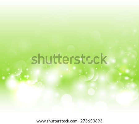 Bright green background with bokeh and glow. Magic light vector background. Colorful background with defocused lights - stock vector