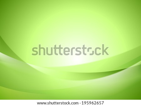 Bright green shiny vector waves - stock vector