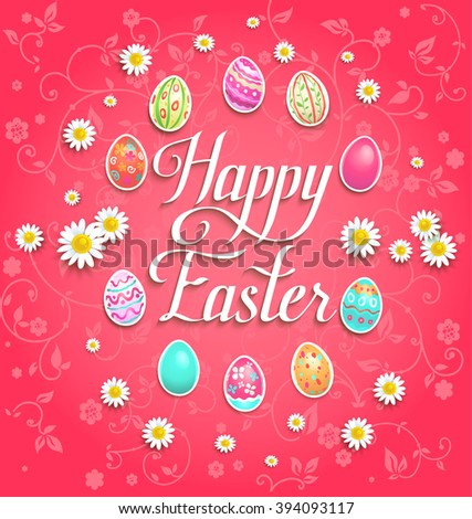 Bright happy Easter eggs on red background for design banner,ticket, leaflet and so on.Template page with handwritten inscription Happy Easter. Holiday card. - stock vector