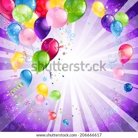 Bright holiday backdrop with balloons and confetti - stock vector