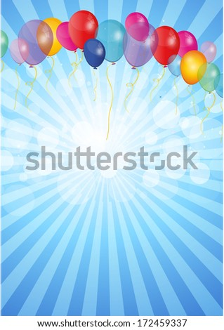 Bright holiday background with balloons - stock vector
