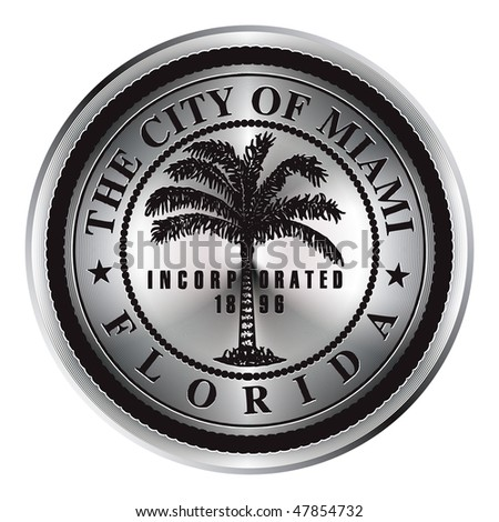 Bright icon with the symbol of the city of Miami in Florida. - stock vector