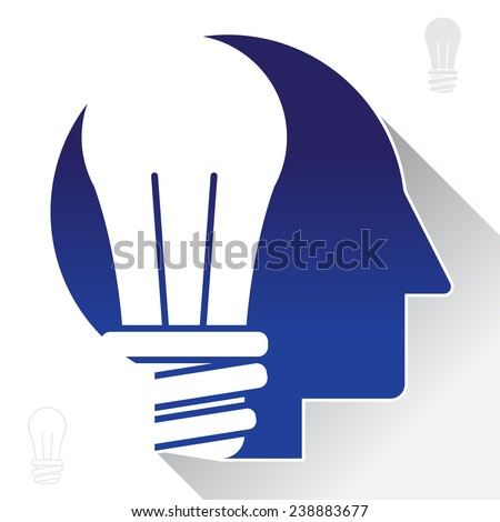 Bright idea / light bulb on human head symbol - stock vector