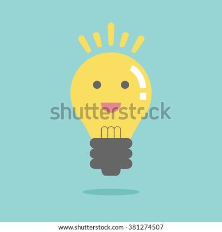 Bright idea like light on. Flat design for business financial marketing banking advertising commercial event  minimal concept cartoon illustration. - stock vector