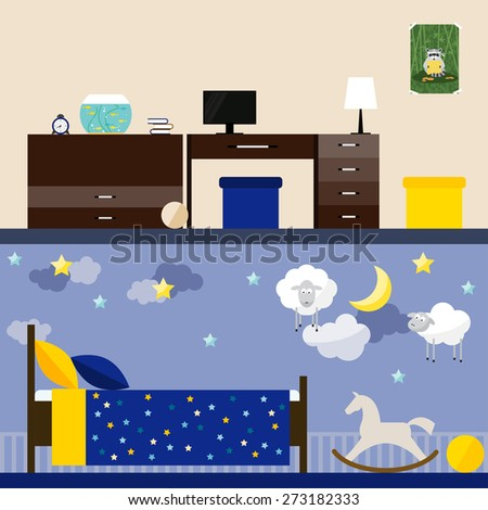 bright illustration in trendy flat style with children room interior for use in design for for card, invitation, poster, banner, placard or billboard cover - stock vector