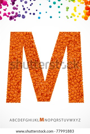 Bright letter M from the alphabet (eps10) - stock vector