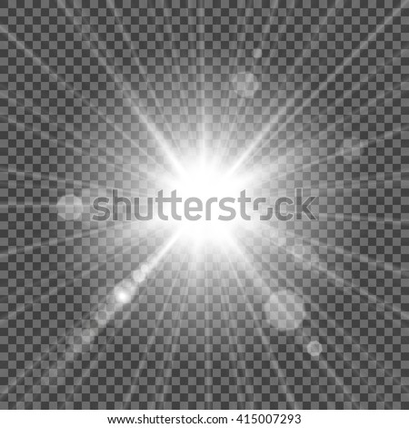 Bright light flash isolated over transparent background. White glowing light burst with bokeh effect. Vector star light radiance. Bright star. Gradient glitter, bright flare, star shape. - stock vector