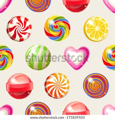 bright lollipop seamless pattern - stock vector