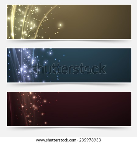 Bright magic shimmering headers collection. Vector illustration - stock vector