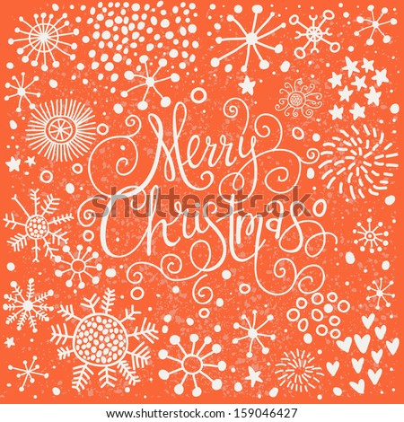 Bright Merry Christmas card in vintage style. Stylish holiday background made of snowflakes in vector - stock vector
