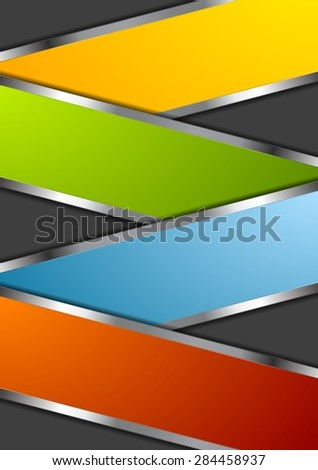Bright metal abstract design background. Vector illustration - stock vector