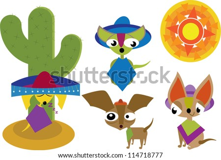 Bright Mexican cartoon characters with sun - stock vectorMexican Cartoon Character
