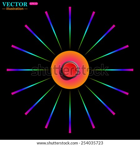 Bright multi-colored circle with rays on a black background. Red button start, stop. Vector illustration, EPS 10 - stock vector
