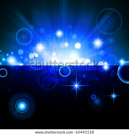 bright night background with stars and lights - stock vector
