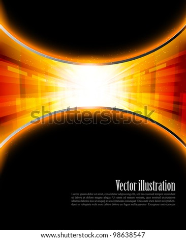 Bright orange background with rays and star - stock vector