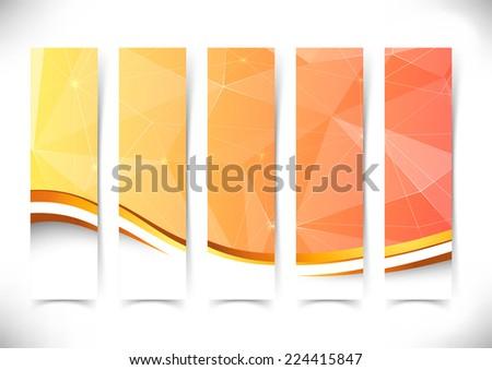 Bright orange crystal structure flyers gold border. Vector illustration - stock vector