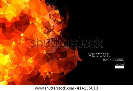 Bright orange fire abstract horizontal background easy editable - stock vector