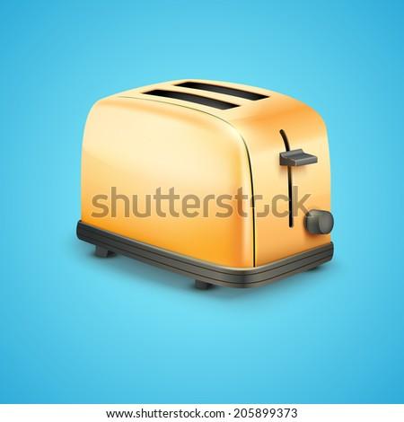 Bright orange Metal Glossy Toaster. Vector illustration. - stock vector