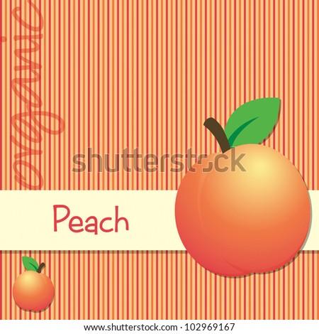 Bright organic peach card in vector format. - stock vector