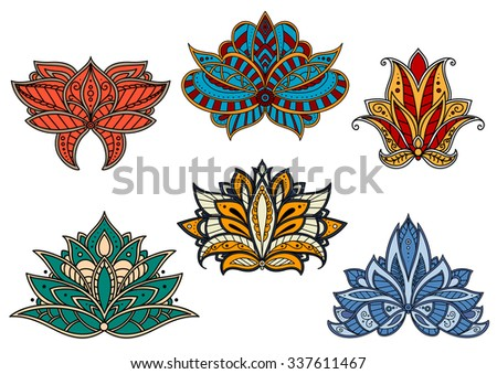 Bright paisley flowers decorated by floral persian, indian and turkish pattern with curving lines and flourishes. For oriental stylized interior or textile design  - stock vector
