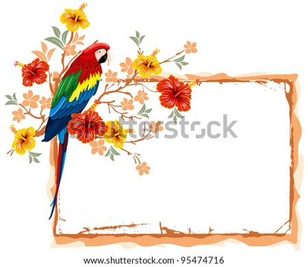 Bright parrots sitting on a branch with tropical flowers - stock vector